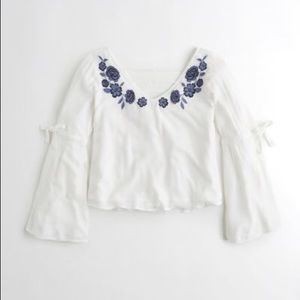 Hollister Women's Blue Embroidered Bell-sleeve Top